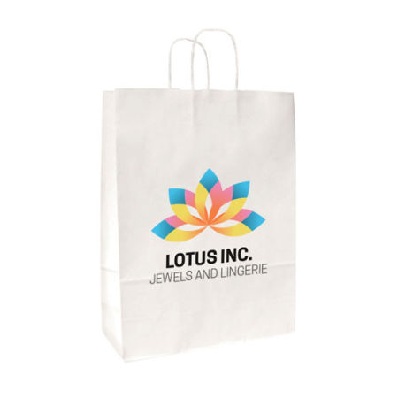 Full colour printed paper bags available at Helloprint with a personalised image or logo printed on the front.