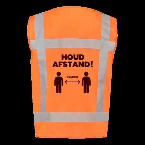 Achterkant oranje veiligheidshesje houd 1,5 meter afstand