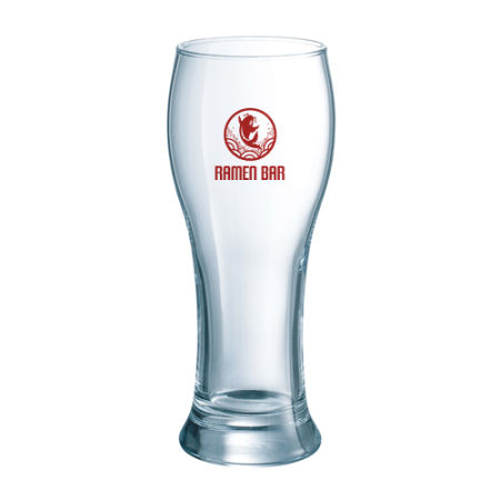 A 32 cl beer glass with a Belgian design available at Helloprint with a personalised logo or image printed on the side
