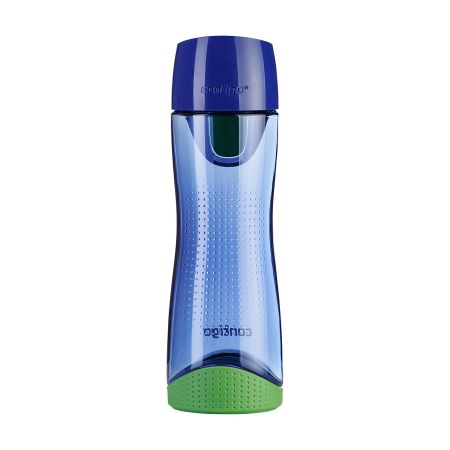 A blue coloured Contigo Swish water bottle with a green base available with custom print options for a low price at Helloprint
