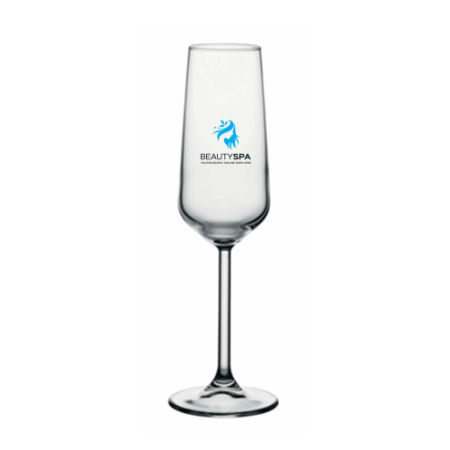 A product image of a 19.5 cl champagne glass available with a personalised image or logo printed on the side at Helloprint