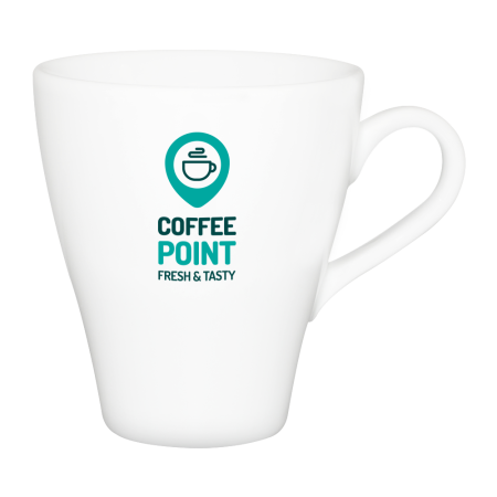 A product image of a coffee mug available to be printed with a personalised logo or image on the side at Drukzo
