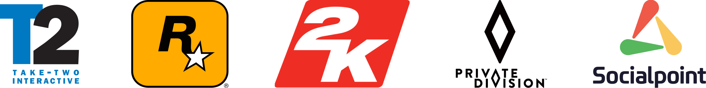 Company Logos - Take-Two Interactive, Rockstar, 2K, Private Division, Socialpoint