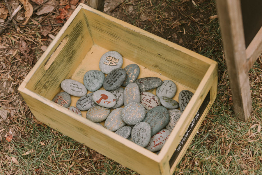 17 creative guest book ideas you havent thought of yet weddingwire river rock guestbook junglespirit Images