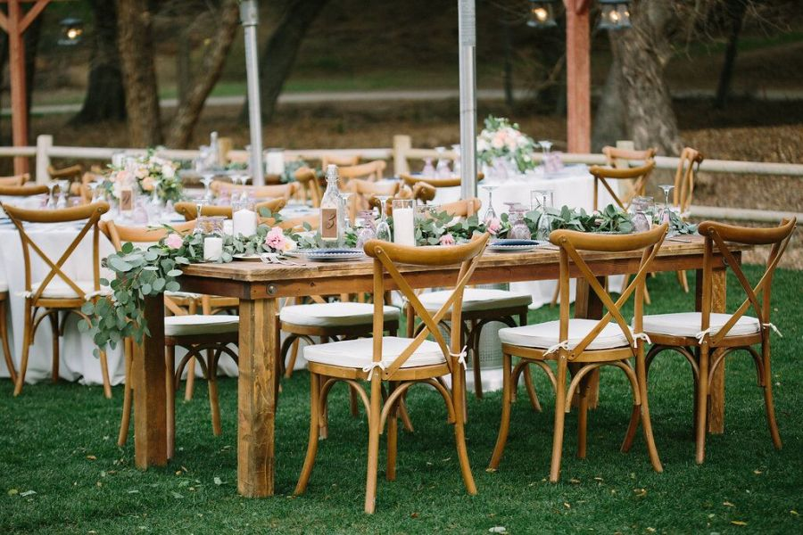 Cross Back Chairs At Garden Reception