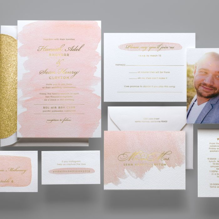 pink watercolor invitation - Paper For Wedding Invitations