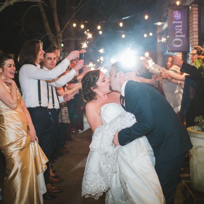 Sparkler Sendoff Wedding Kissing