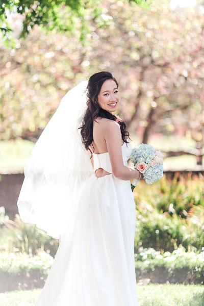 Every wedding veil style length explained weddingwire fingertip length veil junglespirit Images