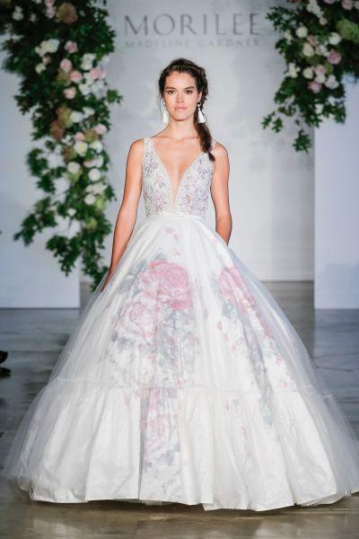 11 floral wedding dresses for the botanical loving bride weddingwire morilee fall 2018 wedding dresses junglespirit Images