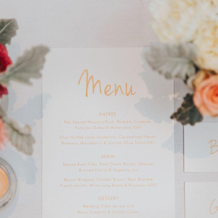 The 5 wedding menu rules every couple should follow weddingwire wedding menu place setting junglespirit Gallery