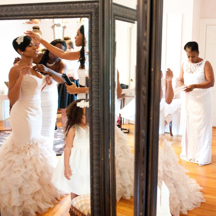 Bride In Pink Gown Looking Mirror Toasts Traditions