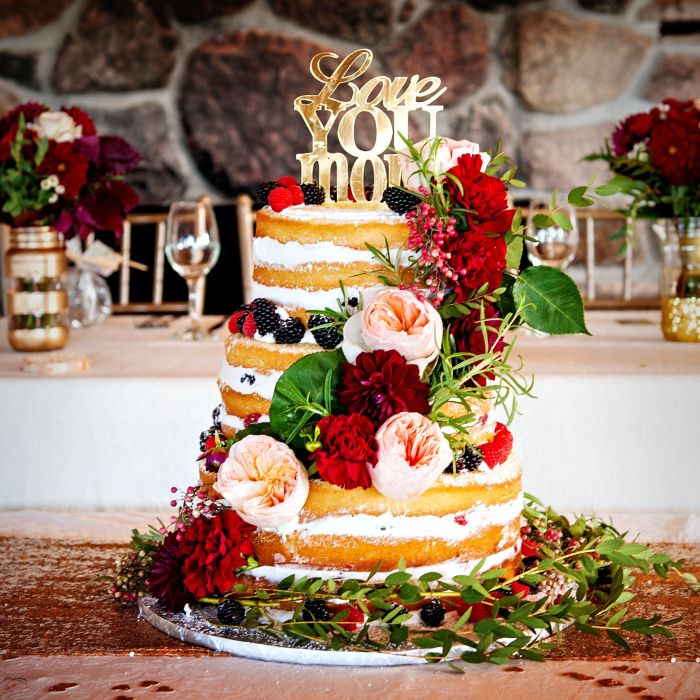 Naked Cake Cascading Flowers And Laser Cut Topper