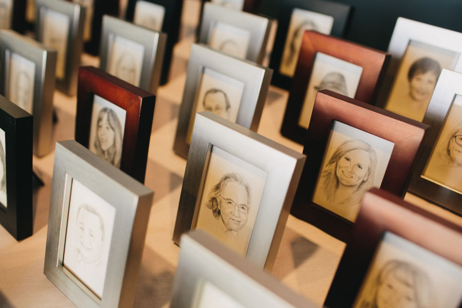 hand-drawn escort cards in frames - tyler jones photography