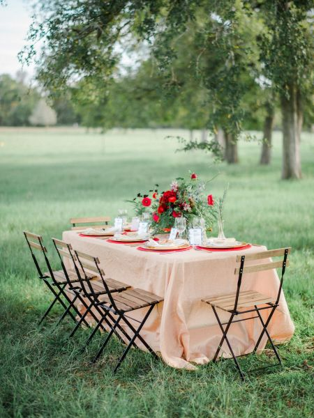Slotted Chairs And Rustic Tablescape