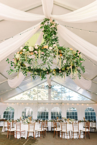 20 hanging centerpieces to spice up your ceiling weddingwire hanging floral chandelier junglespirit Image collections