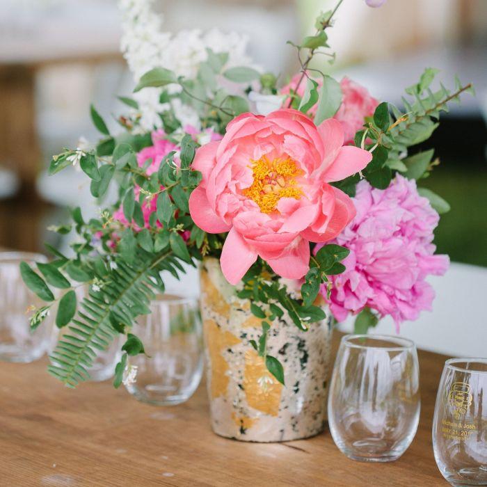 Pink Peony Centerpiece In Votive Vase Flowers