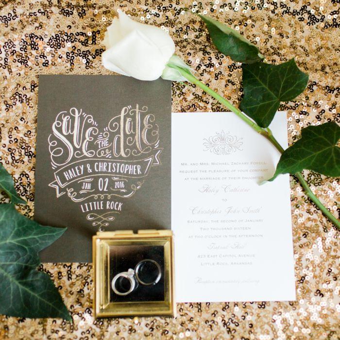 Gold And White Invitation Suite
