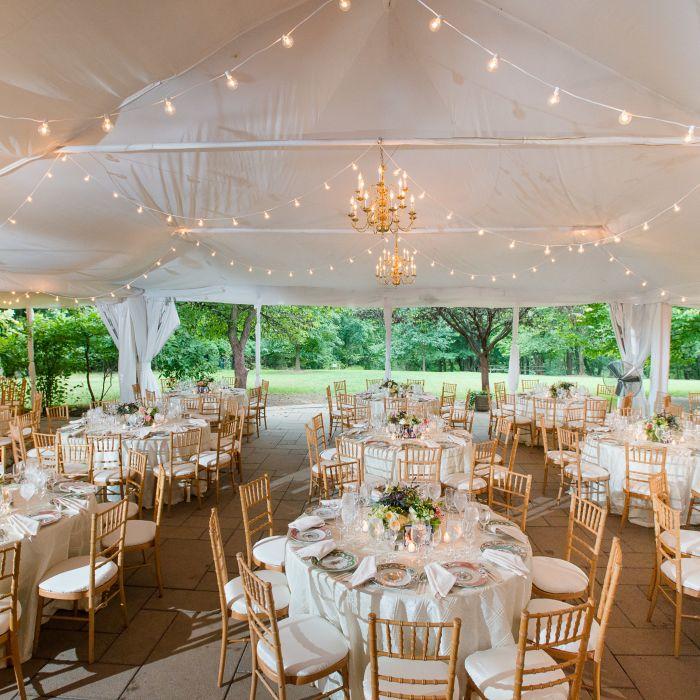 Round Banquet Tables White Linens Gold Chiavari Chairs
