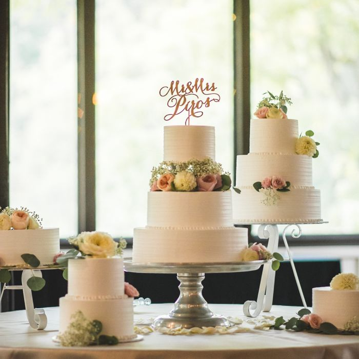 Table Of Wedding Cakes Fondant With Flowers