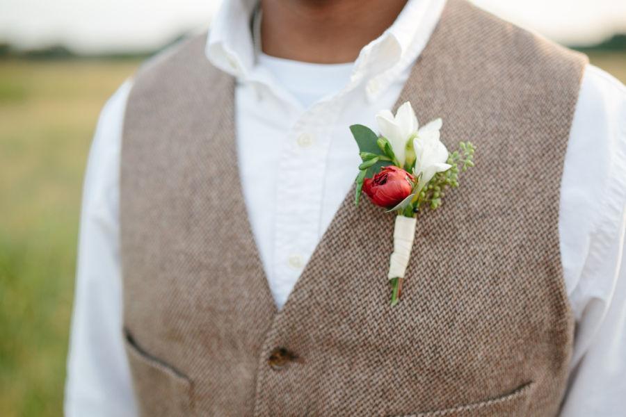Wedding boutonnieres 101 weddingwire red ranunculus boutonniere junglespirit Images