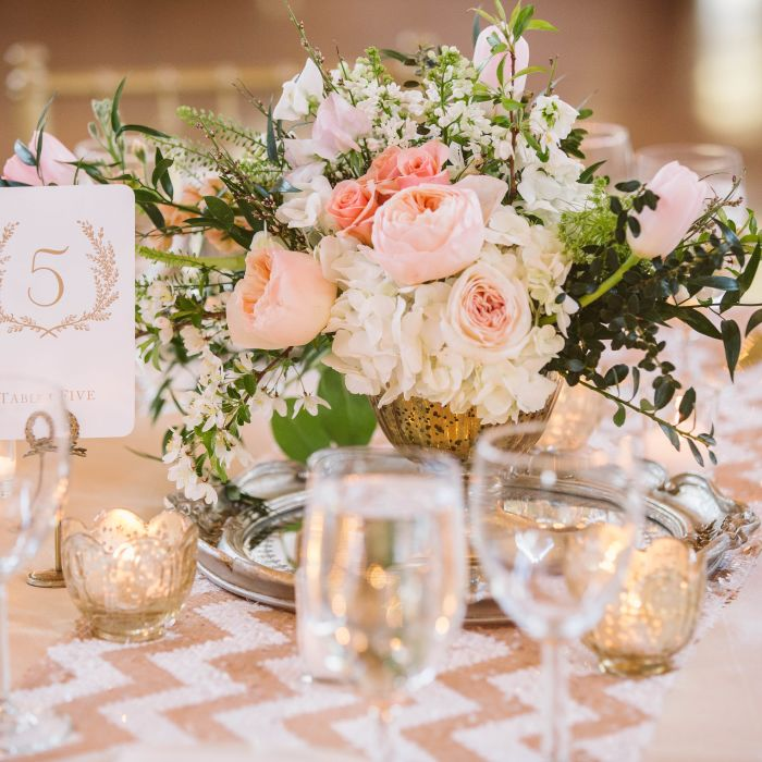 Blush And Gold Centerpiece Flowers How To Find The Right Wedding Florist