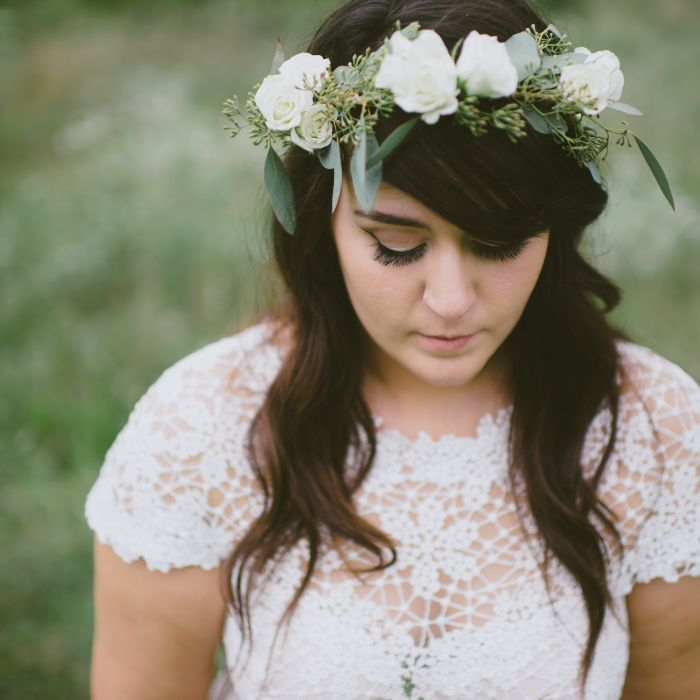 10 wedding hairstyles for long hair youll def want to steal bride wearing greenery wreath junglespirit Choice Image