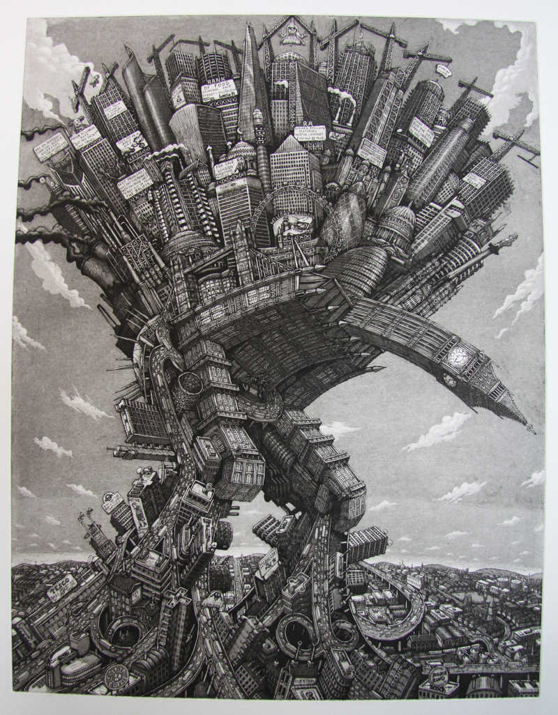 Martin Langford, London, Etching, Edition of 150, 71x55cm, Framed: £520, Unframed: £450, 2017