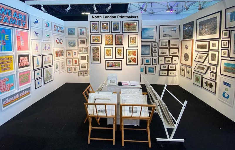 North London Printmakers' stand at the Affordable Art Fair Battersea 2020.