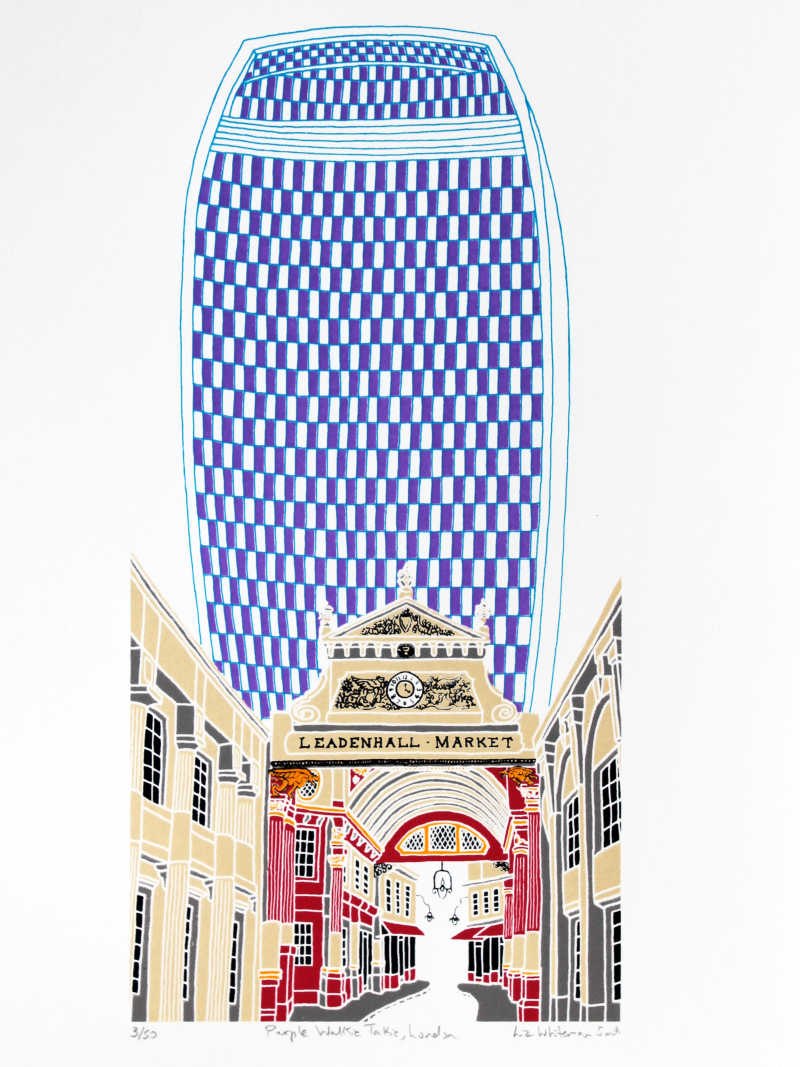 Liz Whiteman Smith, Purple Walkie Talkie, London, Screen print, Edition of 50, 30x40cm, Unframed: £80, 2019