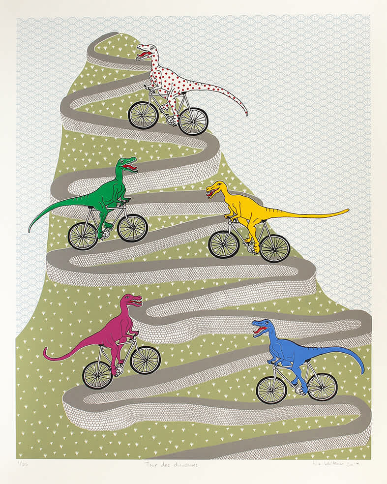 Liz Whiteman Smith, Tour des dinosaures, Screen print, Edition of 50, 40x50cm, Unframed: £150, 2019