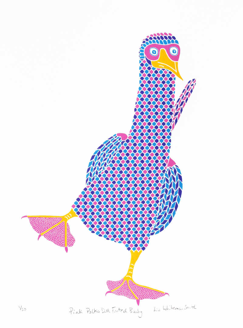 Liz Whiteman Smith, Pink Polka dot booby, Screen print, Edition of 50, 30x40cm, Unframed: £80, 2016