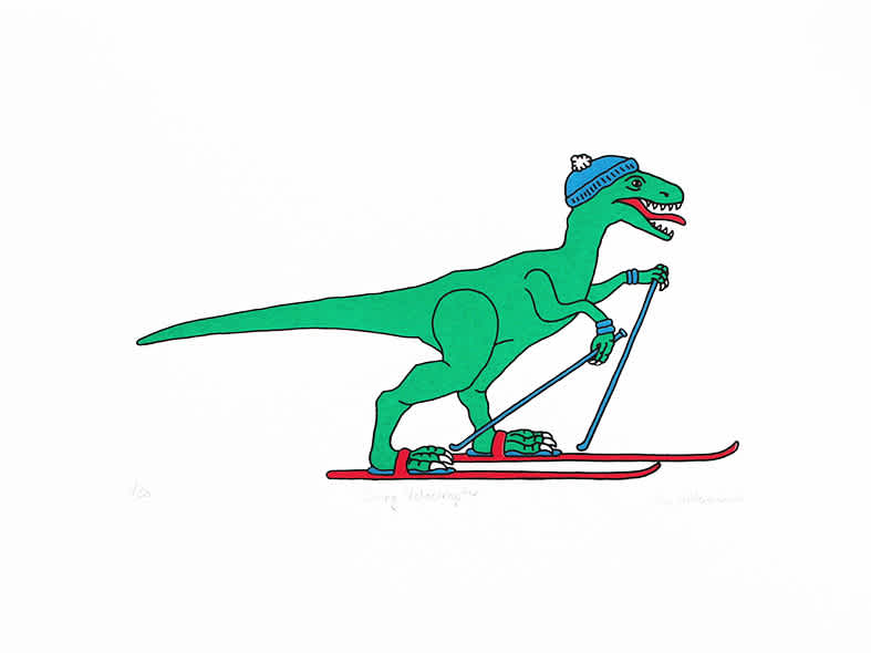 Liz Whiteman Smith, Skiing Velociraptor, Screen print, Edition of 50, 30x40cm, Unframed: £80, 2019