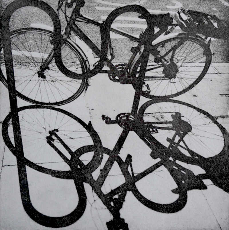 Teresa Schippel Hales, Bike, Kentish Town, Photo Etching, Edition of 30, 20x20 cm, Unframed: £100, 2020.