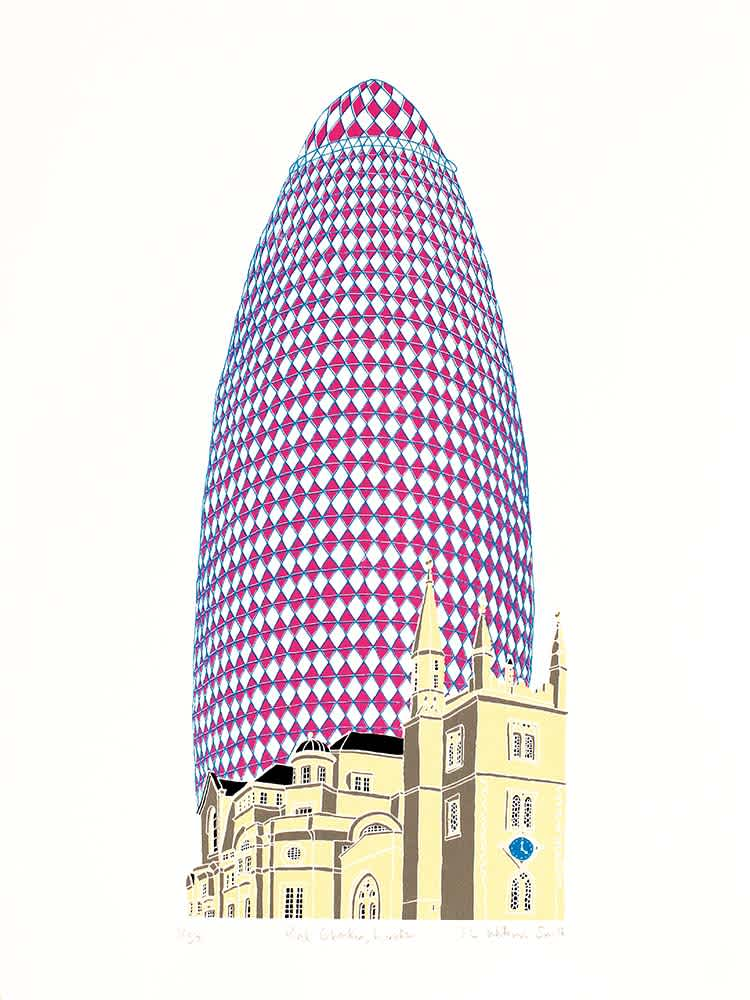 Liz Whiteman Smith, Pink Gherkin London, Screen print, Edition of 50, 30x40cm, Unframed: £80, 2017
