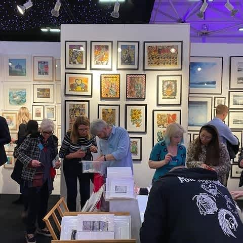 Busy stand at Affordable Art Fair