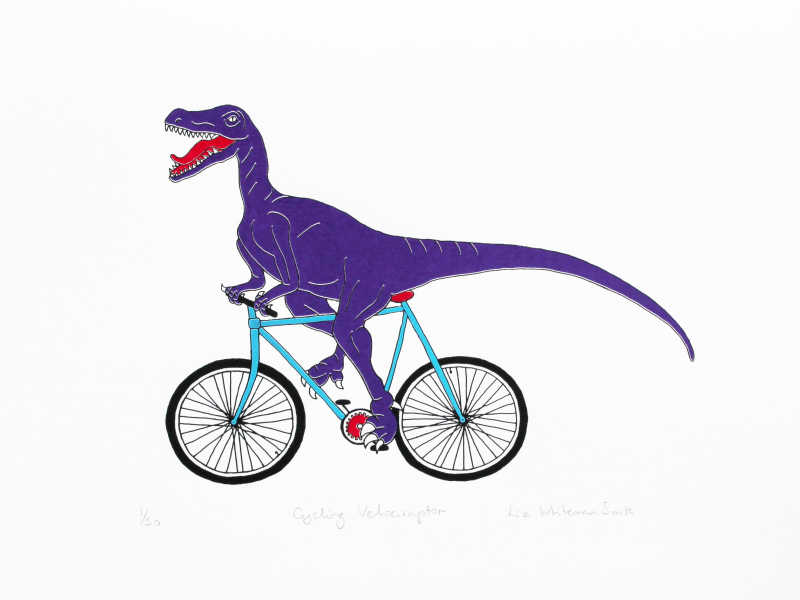 Liz Whiteman Smith, Cycling Velociraptor, Screen print, Edition of 50, 30x40cm, Unframed: £80, 2019