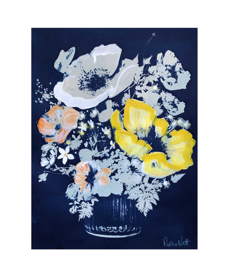 Rosha Nutt, Yellow Poppy, Cyanotype, Monoprint, 44x58 cm, £300, 2020.
