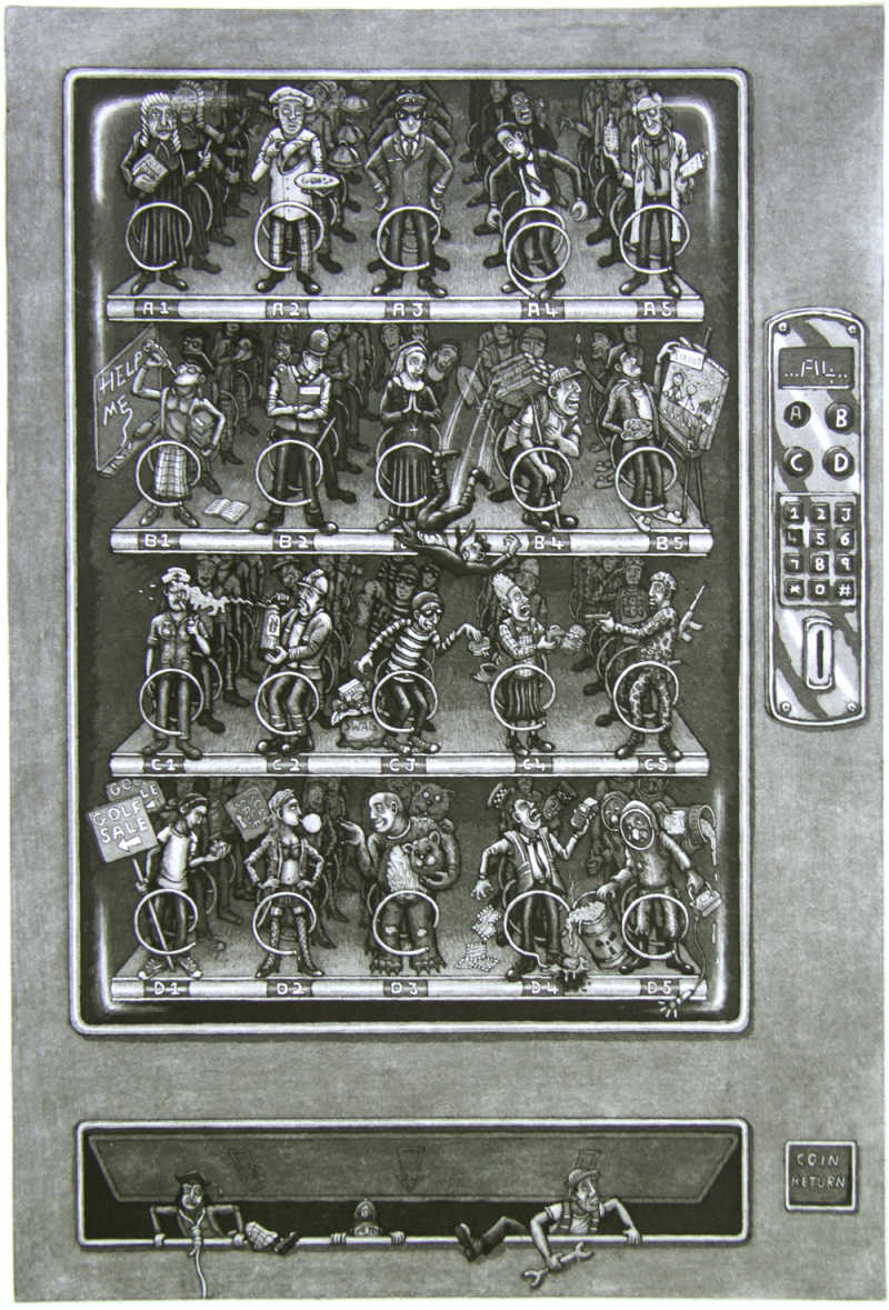Martin Langford, Vending Machine, Etching, Edition of 100, 60x40cm, Framed: £420, Unframed: £350, 2017