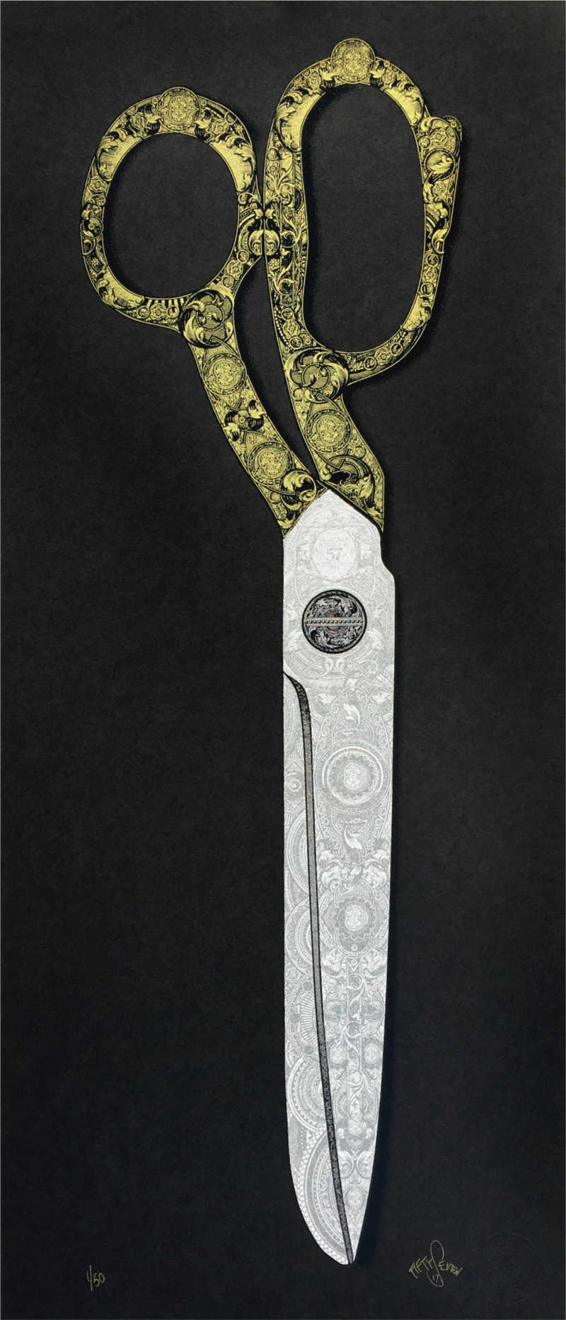 Fiftyseven/ Steve Mitchell, Scissors, Screen print. Edition of 50, 30x70cm, £150, 2018