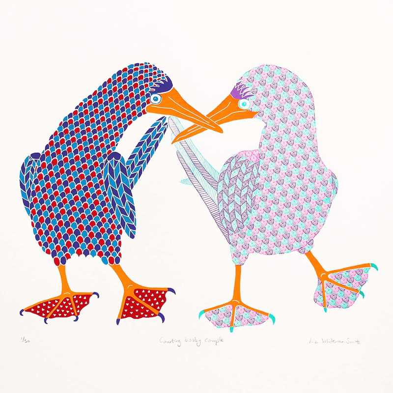Liz Whiteman Smith, Courting booby couple, Screen print, Edition of 50, 50x50cm, Unframed: £150, 2018