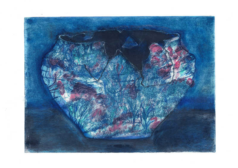 Heather Graham, Bowl, Etching and Chine Collé Edition of 5, 30x40cm, Unframed: £120, 2020.