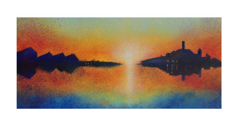 Roy Tonkin, Twilight Battersea, Etching, Edition of 1, 73.6 x40.6cm, Framed: £400, Unframed: £350, 2018
