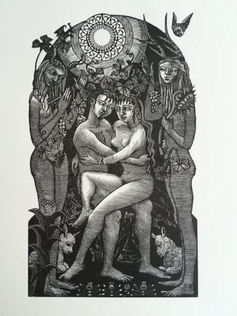 Jane Lydbury, Day (The Song of Solomon), Wood Engraving, Edition of 60, 13x8cm, Framed: £220, Unframed: £200