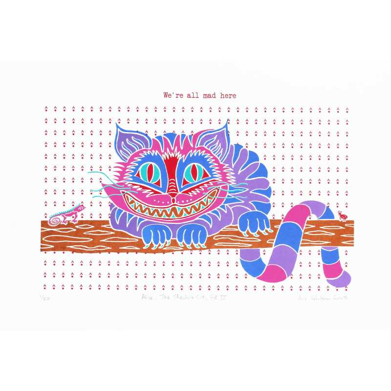 Liz Whiteman Smith, Cheshire Cat Ed III, Screen print, Edition of 50, 40x30cm, Unframed: £80, 2018