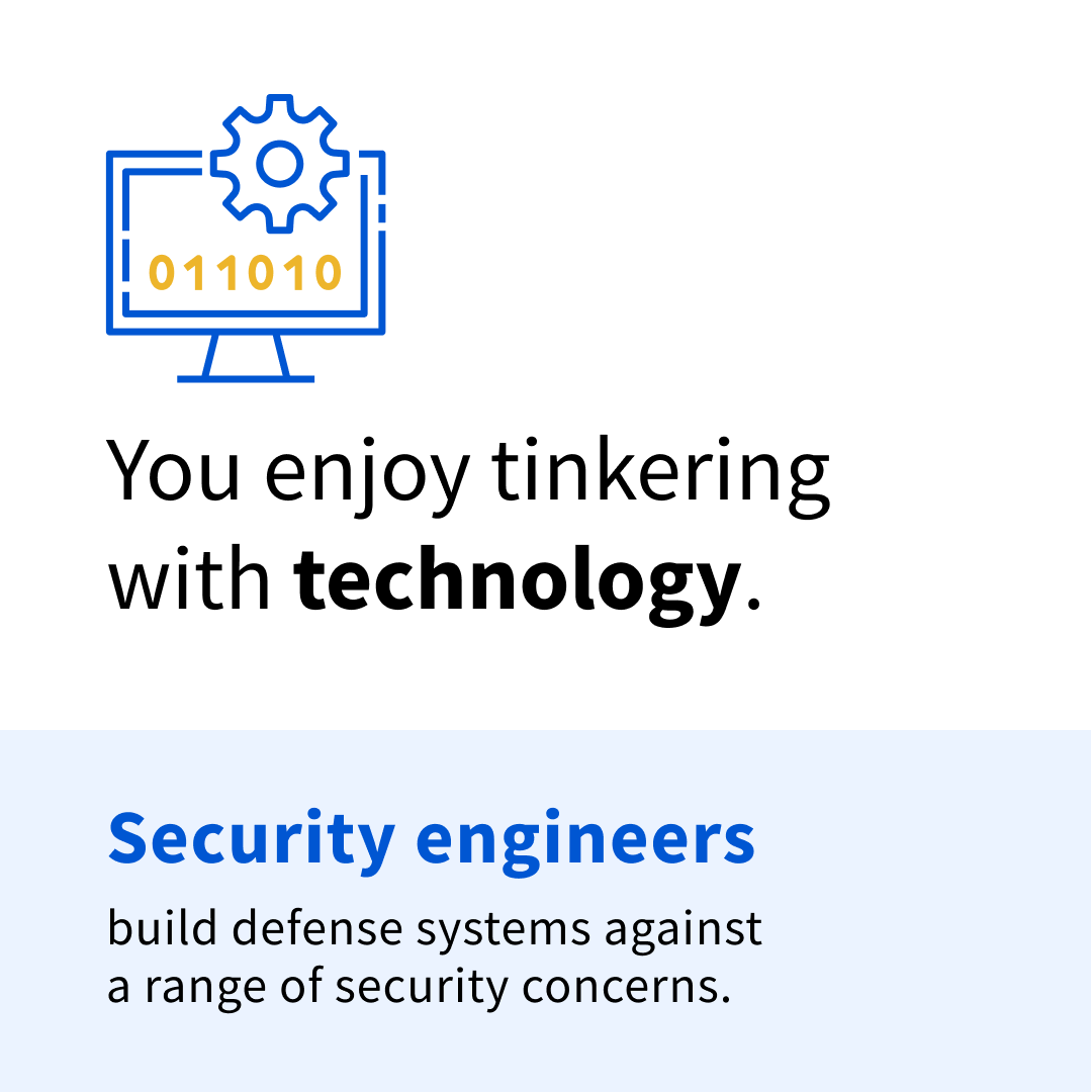 """Black and blue text on a blue and white background that reads: """"You enjoy tinkering with technology. Security engineers build defense systems against a range of security concerns."""""""