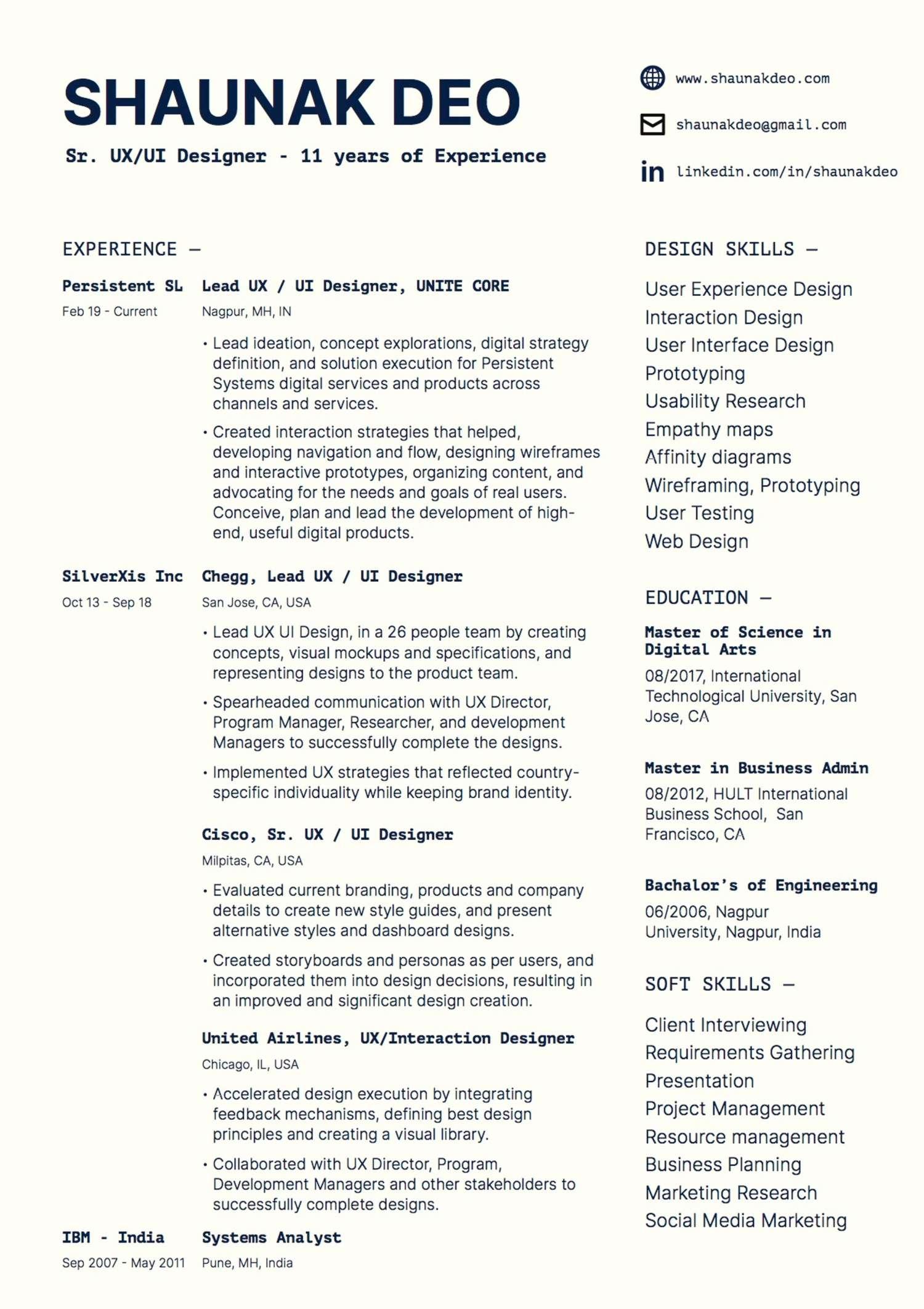 Shaunak Deo resume