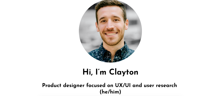 Screenshot of Clayton Hopkins's UX portfolio