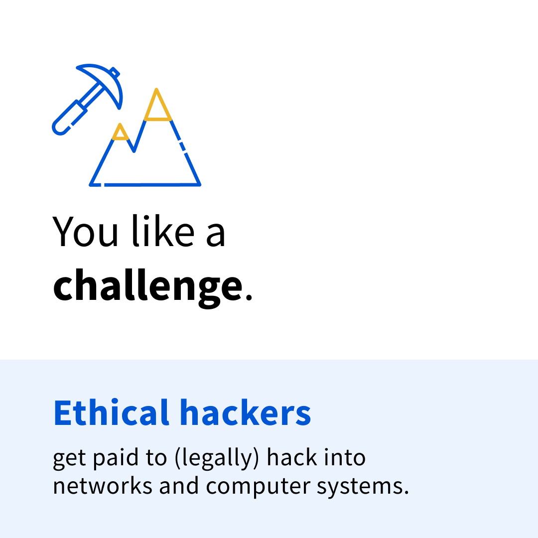"""Black and blue text on a white and blue background that says """"You like a challenge. Ethical hackers get paid to (legally) hack into networks and computer systems."""""""