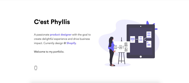 Screenshot of Phyllis Liu's portfolio page