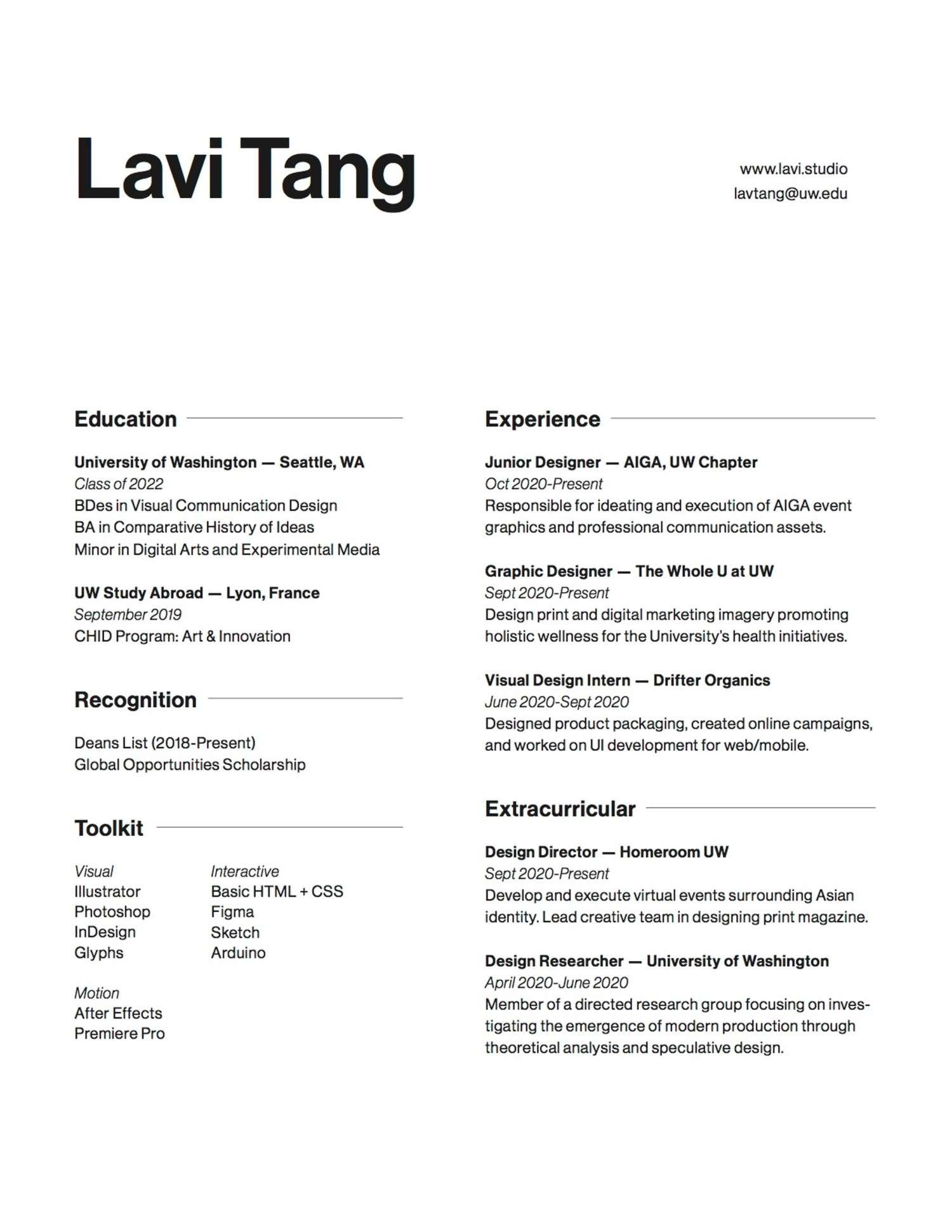 Lavi Tang's resume
